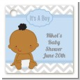 It's A Boy Chevron African American - Personalized Baby Shower Card Stock Favor Tags thumbnail