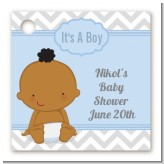 It's A Boy Chevron African American - Personalized Baby Shower Card Stock Favor Tags