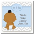 It's A Boy Chevron African American - Square Personalized Baby Shower Sticker Labels thumbnail