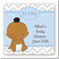 It's A Boy Chevron African American - Square Personalized Baby Shower Sticker Labels