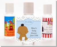 It's A Boy Chevron African American - Personalized Baby Shower Hand Sanitizers Favors