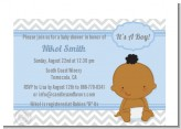 It's A Boy Chevron African American - Baby Shower Petite Invitations
