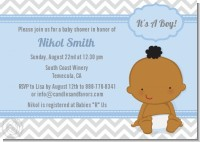 It's A Boy Chevron African American - Baby Shower Invitations