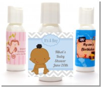 It's A Boy Chevron African American - Personalized Baby Shower Lotion Favors