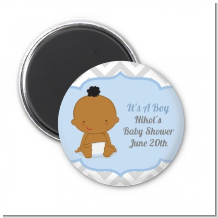It's A Boy Chevron African American - Personalized Baby Shower Magnet Favors