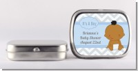 It's A Boy Chevron African American - Personalized Baby Shower Mint Tins