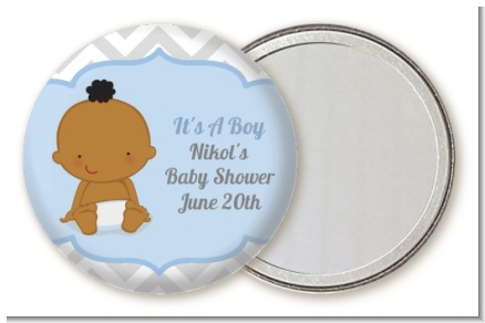 It's A Boy Chevron African American - Personalized Baby Shower Pocket Mirror Favors