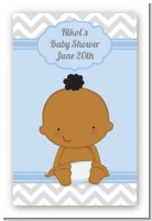 It's A Boy Chevron African American - Custom Large Rectangle Baby Shower Sticker/Labels