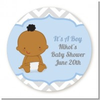 It's A Boy Chevron African American - Round Personalized Baby Shower Sticker Labels