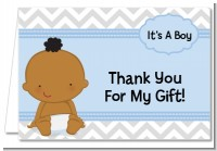 It's A Boy Chevron African American - Baby Shower Thank You Cards