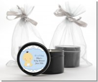It's A Boy Chevron Asian - Baby Shower Black Candle Tin Favors