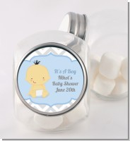 It's A Boy Chevron Asian - Personalized Baby Shower Candy Jar