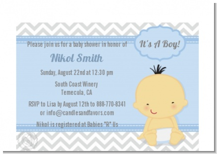 It's A Boy Chevron Asian - Baby Shower Petite Invitations