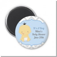 It's A Boy Chevron Asian - Personalized Baby Shower Magnet Favors