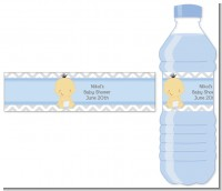 It's A Boy Chevron Asian - Personalized Baby Shower Water Bottle Labels