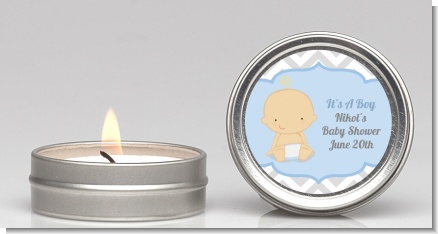 It's A Boy Chevron - Baby Shower Candle Favors