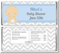 It's A Boy Chevron - Personalized Baby Shower Candy Bar Wrappers