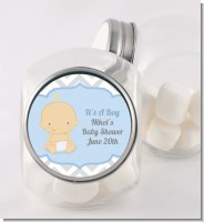 It's A Boy Chevron - Personalized Baby Shower Candy Jar