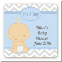 It's A Boy Chevron - Square Personalized Baby Shower Sticker Labels