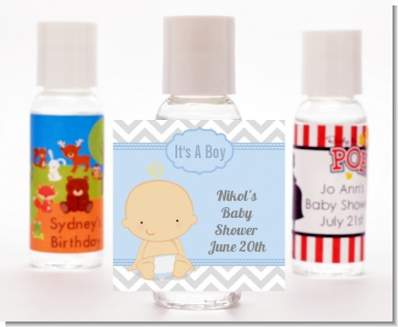 It's A Boy Chevron - Personalized Baby Shower Hand Sanitizers Favors