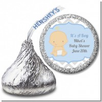 It's A Boy Chevron - Hershey Kiss Baby Shower Sticker Labels