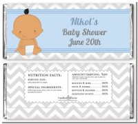 It's A Boy Chevron Hispanic - Personalized Baby Shower Candy Bar Wrappers
