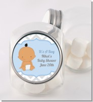 It's A Boy Chevron Hispanic - Personalized Baby Shower Candy Jar