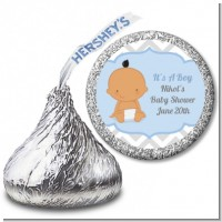 It's A Boy Chevron Hispanic - Hershey Kiss Baby Shower Sticker Labels