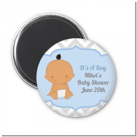 It's A Boy Chevron Hispanic - Personalized Baby Shower Magnet Favors