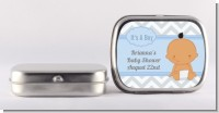 It's A Boy Chevron Hispanic - Personalized Baby Shower Mint Tins
