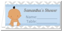 It's A Boy Chevron Hispanic - Personalized Baby Shower Place Cards