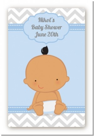 It's A Boy Chevron Hispanic - Custom Large Rectangle Baby Shower Sticker/Labels