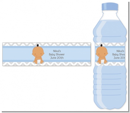 It's A Boy Chevron Hispanic - Personalized Baby Shower Water Bottle Labels