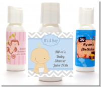 It's A Boy Chevron - Personalized Baby Shower Lotion Favors