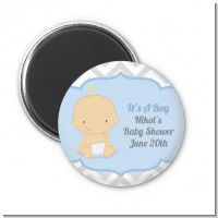 It's A Boy Chevron - Personalized Baby Shower Magnet Favors