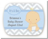 It's A Boy Chevron - Personalized Baby Shower Rounded Corner Stickers