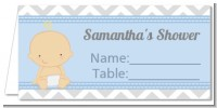 It's A Boy Chevron - Personalized Baby Shower Place Cards