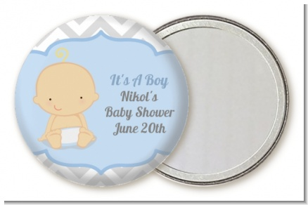 It's A Boy Chevron - Personalized Baby Shower Pocket Mirror Favors