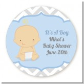 It's A Boy Chevron - Round Personalized Baby Shower Sticker Labels