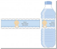 It's A Boy Chevron - Personalized Baby Shower Water Bottle Labels