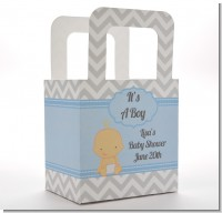 It's A Boy Chevron - Personalized Baby Shower Favor Boxes