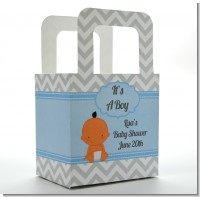It's A Boy Chevron Hispanic - Personalized Baby Shower Favor Boxes