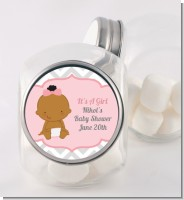 It's A Girl Chevron African American - Personalized Baby Shower Candy Jar