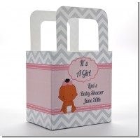 It's A Girl Chevron African American - Personalized Baby Shower Favor Boxes