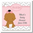 It's A Girl Chevron African American - Personalized Baby Shower Card Stock Favor Tags thumbnail
