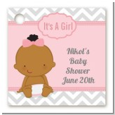 It's A Girl Chevron African American - Personalized Baby Shower Card Stock Favor Tags