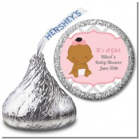 It's A Girl Chevron African American - Hershey Kiss Baby Shower Sticker Labels