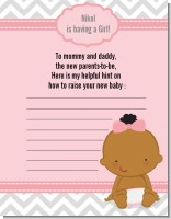 It's A Girl Chevron African American - Baby Shower Notes of Advice
