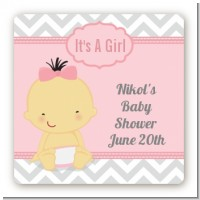 It's A Girl Chevron Asian - Square Personalized Baby Shower Sticker Labels
