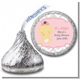 It's A Girl Chevron Asian - Hershey Kiss Baby Shower Sticker Labels thumbnail